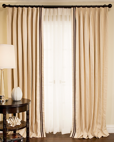 Velvet Trimmed Estate Linen Custom Drapery